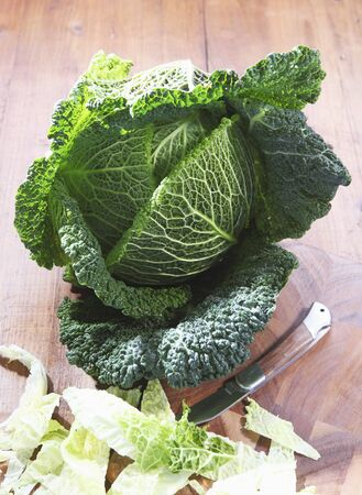 savoy cabbage: Savoy cabbage, partially sliced