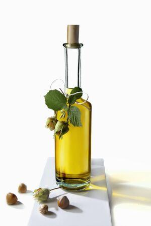 hazel nut: Hazel nut oil in a bottle