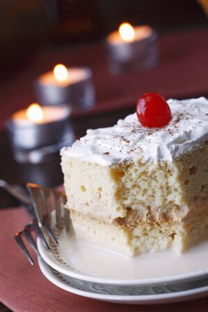 tres: Tres Leches Cake with Cinnamon and a Cherry; Partially Eaten LANG_EVOIMAGES