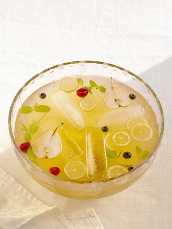 champers: Twenty-Ten Punch with Sliced Fresh Fruit and Mint in a Punch Bowl