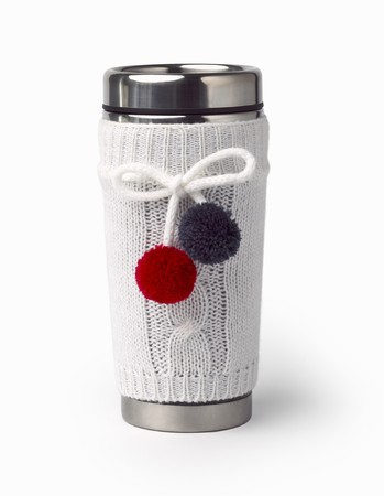 travel mug: Thermal Stainless Steel Travel Mug with White Knitted Cover