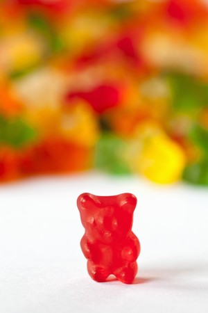gummie: Red Gummie Bear; Many Gummie Bears in Background