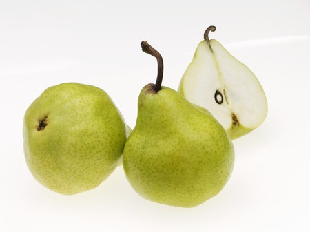 pip: An arrangement of pears, one halved