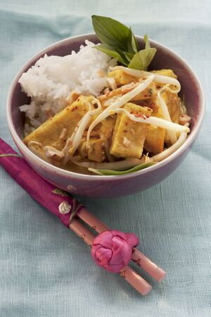 bean curd: Fried tofu with beansprouts and rice (Asia)