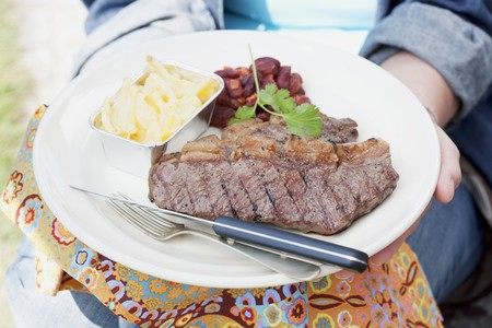 beefsteak: A person holding a plate of grilled beefsteak