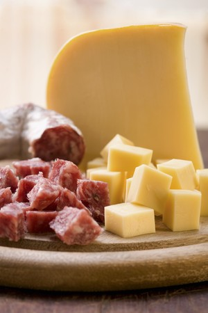 cubed: Cheese and salami, cubed and whole