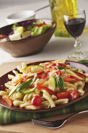cocozelle: Pasta Primavera with Zucchini, Carrots, Red Pepper, Tomatoes, Basil and Grated Romano Cheese