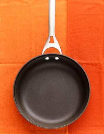 nonstick: An empty frying pan, seen from above