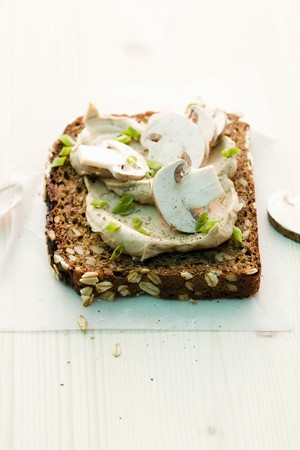 free me: A slice of wholemeal bread topped with a mushroom spread LANG_EVOIMAGES