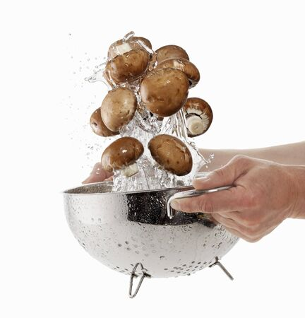 squirted: Brown mushrooms being washed in a sieve LANG_EVOIMAGES