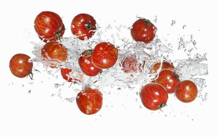 squirted: Tiger tomatoes with a water splash