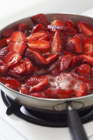 perishable: Strawberries Boiling Down for Strawberry Jam