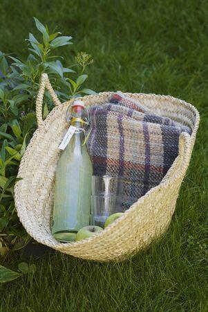 soda pops: A bottle of home-made lemonade for a picnic