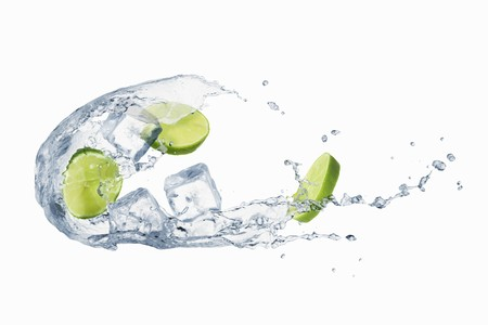 squirted: A splash of water with limes and ice cubes