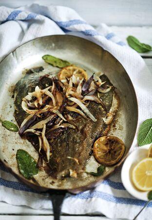 plaice: Pan fried plaice with lemons, sage and onions
