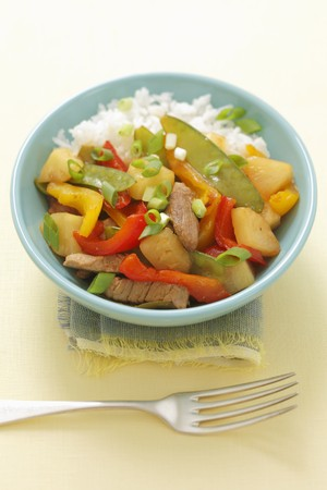 tout: Sweet n sour pork with pepper, pineapple and mange tout
