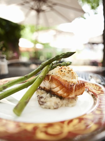 red skinned: Pan Seared Salmon Topped with Crab Imperial Over Red Skinned Mashed Potatoes and Asparagus