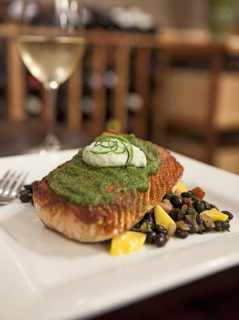 chili's restaurant: Grilled Salmon with Cilantro Aioli Over Chipotle and Mango Black Beans