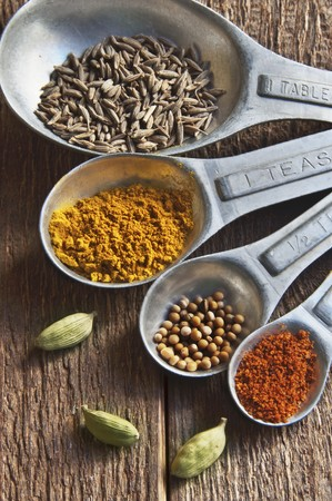 mustard seed: A Set of Measuring Spoons with Cumin, Turmeric, Mustard Seed, Chili Powder and Cardamom LANG_EVOIMAGES
