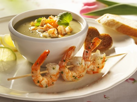 gambas: Avocado soup with shrimp kebabs