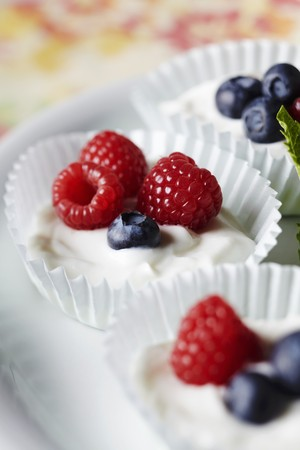 aaa: Yogurt with Fresh Berries in Paper Muffin Cups LANG_EVOIMAGES