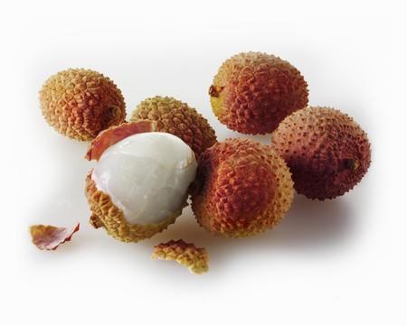 lychees: Several lychees