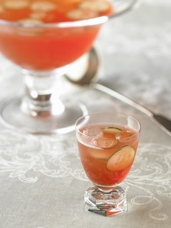 royale: Glass of Venetian Punch Royale with Cucumber Slices; Punch Bowl LANG_EVOIMAGES