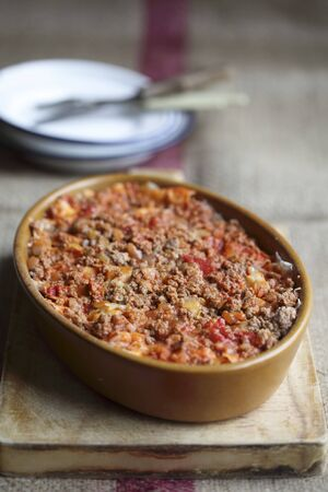 southern european: A minced meat bake with chilli and tomatoes