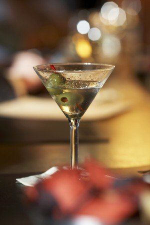 drank: Partially Drank Martini with Olives