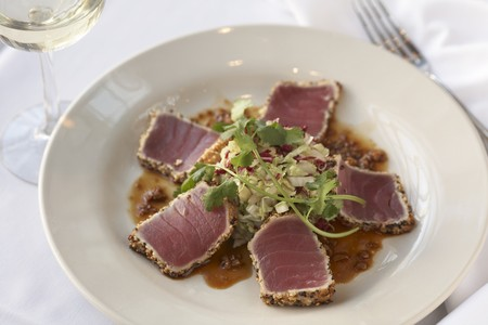 ahi: Peppercorn Crusted Ahi Medallions with Garlic Sesame Lime Vinaigrette