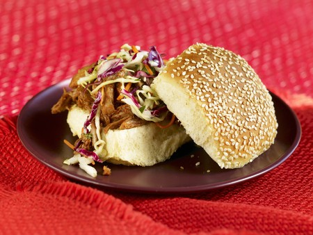 qs: Barbecue Pulled Pork Sandwich with Cole Slaw on Sesame Seed Bun