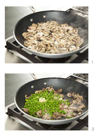sautee: Sauteing Mushrooms and Peas