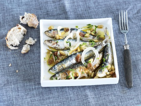 pine kernels: Marinated sardines with onions and pine nuts