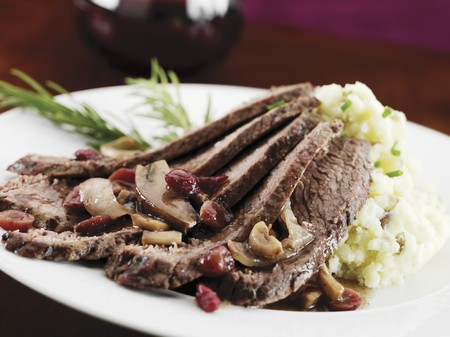 vaccinium macrocarpon: Sliced Brisket with Cranberries and Mushrooms; Served with Mashed Potatoes LANG_EVOIMAGES