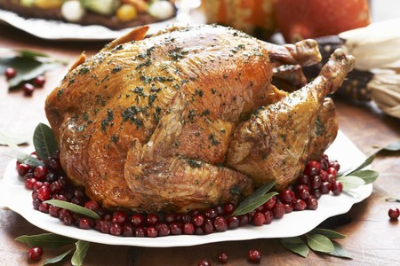 vaccinium macrocarpon: Whole Roast Turkey on a Platter with Cranberries and Bay Leaves