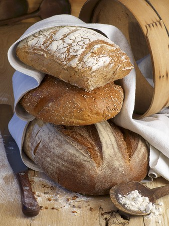 several breads: A stack of loaves