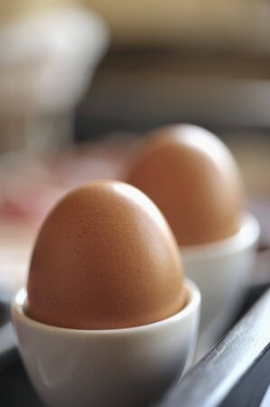 egg cups: Two eggs in egg cups