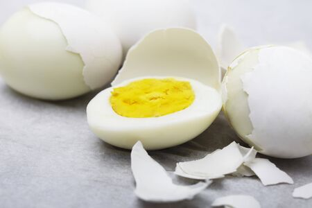 hard boiled: Hard Boiled Cage Free Eggs; Some Partially Peeled; One Half