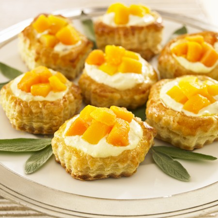 danish puff pastry: Peach and Cream Puff Pastries on a Platter