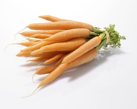 elastic band: Whole Peeled Carrots Bundled with an Elastic Band