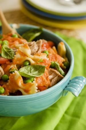 tunafish: Pasta, Tuna, and Peas with Tomato Sauce and Basil