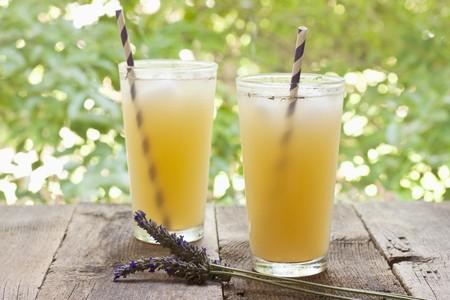 soda pops: Two Glasses of Lavender Ginger Lemonade; Outdoors LANG_EVOIMAGES