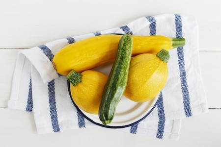 cocozelle: Various types of courgette (yellow, green and round)
