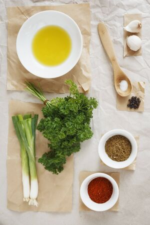 petroselinum sativum: Ingredients for chermoula (oriental spice paste) LANG_EVOIMAGES