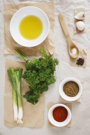 petroselinum sativum: Ingredients for chermoula (oriental spice paste) LANG_EVOIMAGES