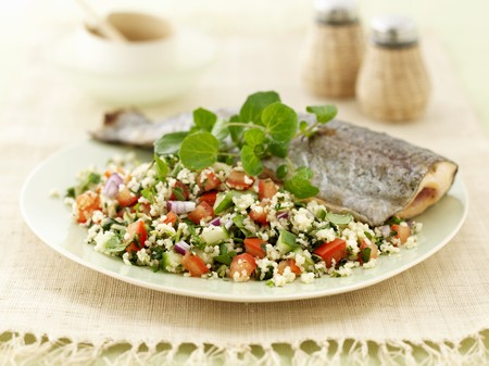 water cress: Trout with tabbouleh and watercress