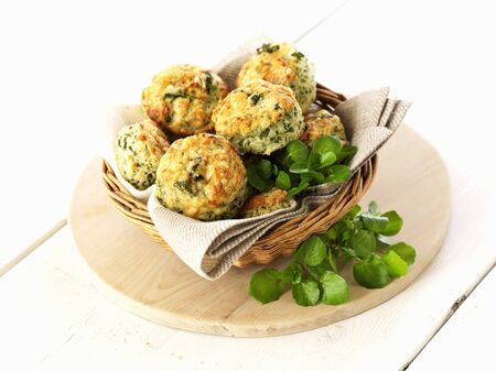 water cress: Scones with watercress in a bread basket