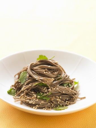 soba noodles: Soba noodles with sesame seeds and coriander (Asia) LANG_EVOIMAGES