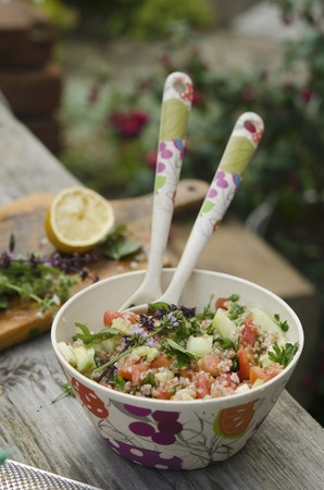 tabbouleh: Tabbouleh with tomatoes, cucumber and chives