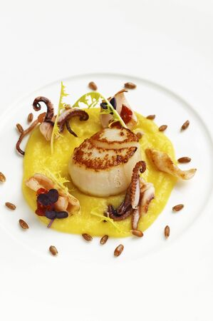 calamares: Fried scallops and calamari on olive cream LANG_EVOIMAGES